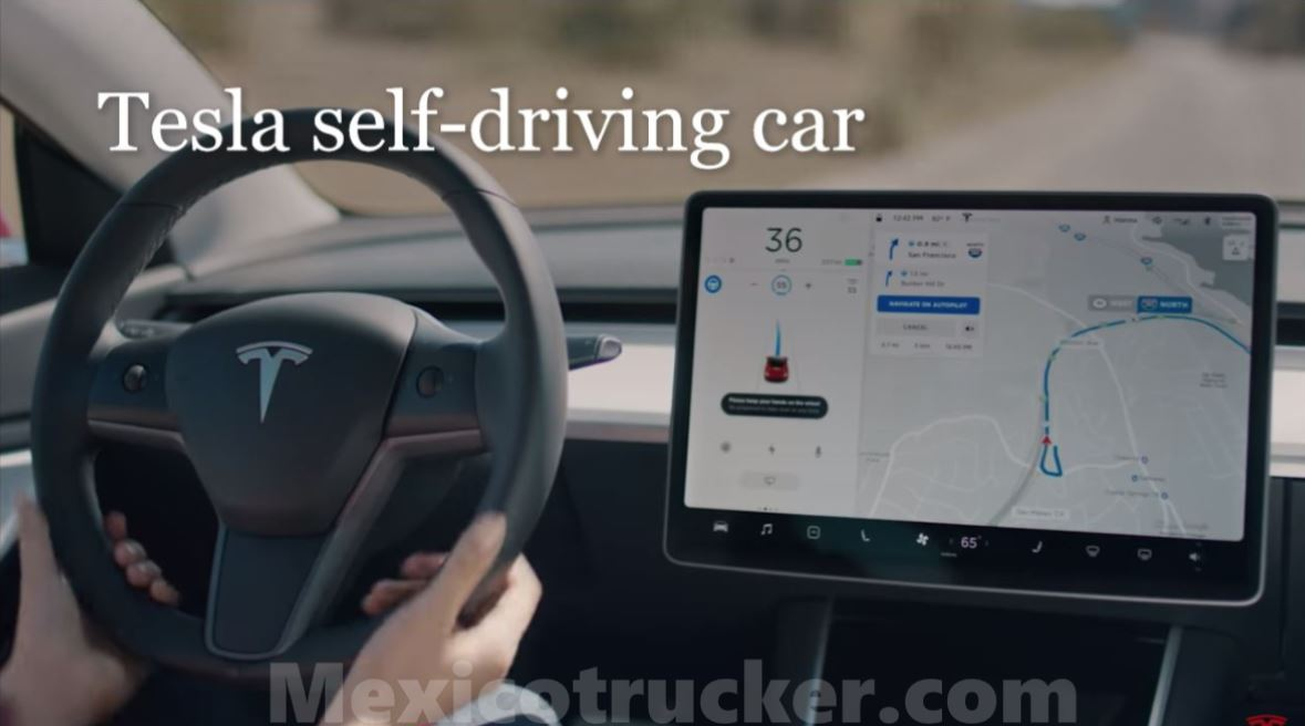Tesla self driving car at mexicotrucker.com